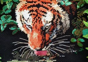 Embroidery Tiger reflection