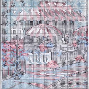 Embroidery scheme Café near the sea (Dimensions) 4 from 6