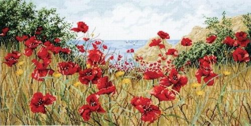 Stickerei-Poppies nahe dem Meer (Anker)