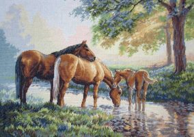 "Bordado ""Horses by a Stream"""