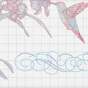 Embroidery scheme Orchids and hummingbirds (Dimensions) 4 from 4