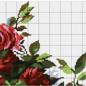 Diagram of the embroidery of roses (Alice) 2 from 4