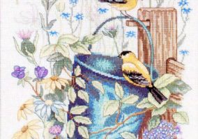 Broderi «Goldfinch Gathering»