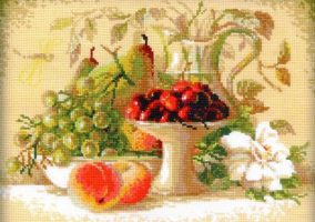 "Embroidery ""Still life with cherries"""