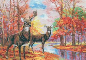 "Embroidery ""deer in autumn forest"