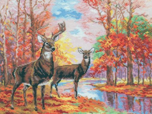 Embroidery Deer in the autumn forest (Alice)