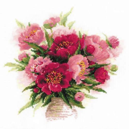 Embroidery Peonies in a vase (Riolis)