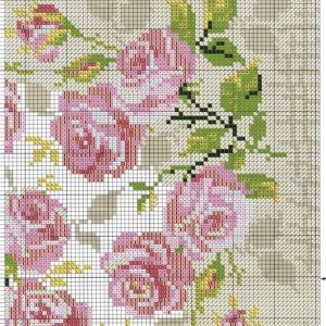 Diagram of embroidery Pillow. Roses (Riolis) 2 from 4