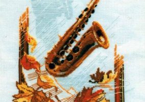 "Вышивка ""Saxophone with maple leaves"""