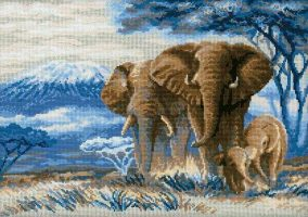 "Embroidery ""Elephants in the Savannah"""