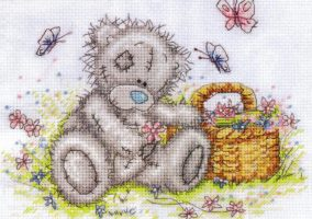 "Embroidery ""Teddy with a basket"""