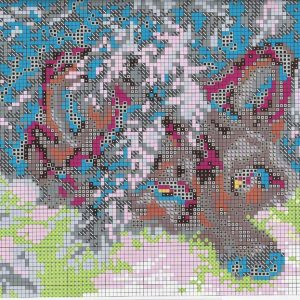 Embroidery scheme Wolves in the snow (Fascinating MYT) 1 from 2