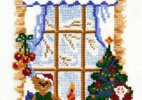 "Stickerei ""Winter-Fenster"""